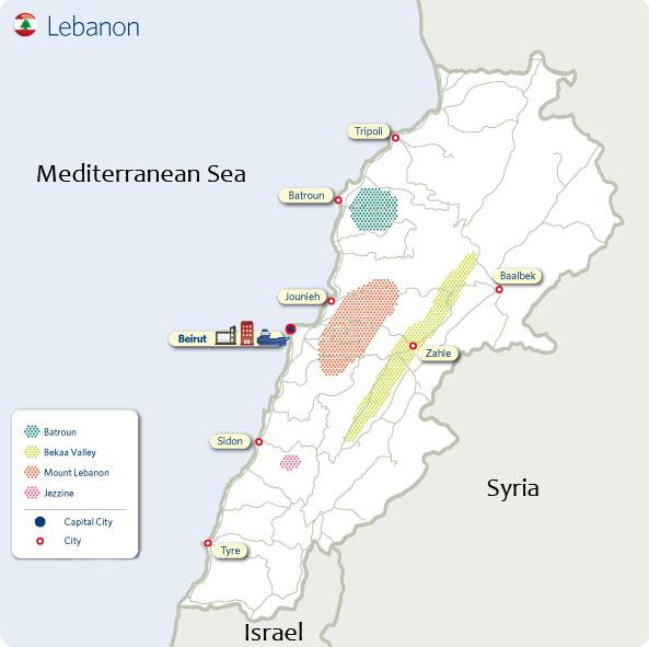 La carte du vignoble libanais